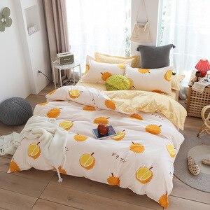 Image 3 - Cute bed linens peach print Home textile bedding luxury fruit duvet cover set sheet bedclothes 3/4pcs girls gift queen king size
