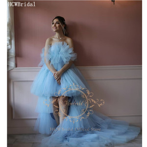 Tiered Tulle High Low Pregnant Women Evening Dress Strapless Corset Back Plus Size Prom Gowns Long Women Dresses For Photoshoot