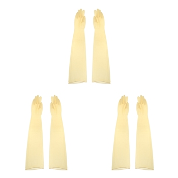 1pair 70cm Industrial Lab Solvent Chemical Resistant Latex Work Glove Yellow