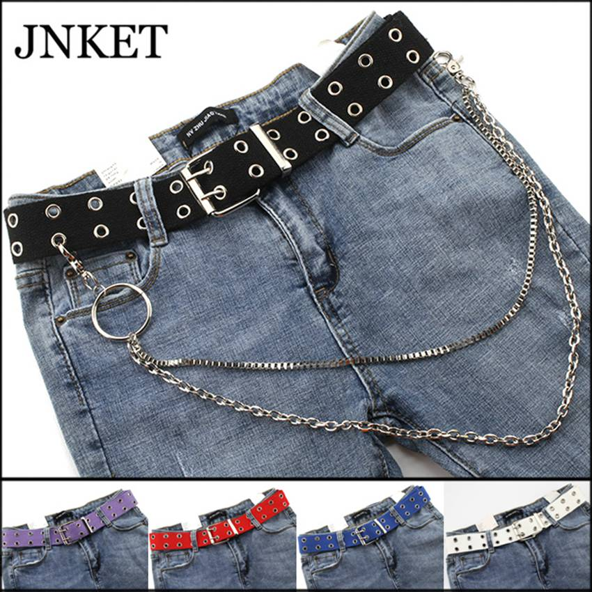 JNKET Unisex Canvas Belt Alloy Double Row Hole Pin Buckle  Belt  Punk Waist Belt Hollow Out Waist Strap  Jeans Rock Belt