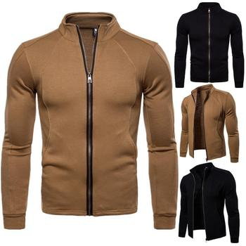 Pure Color Youth Men Jackets Stand Collar Thick Zipper Jackets Cotton Cardigan slim fit Comfortable men coat  Leisure jacket
