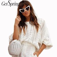 GETSPRING Women Sweater Lantern Sleeve Hollow Out Pullovers Sweaters Women White All Match Vintage Autumn Sweaters 2019 Fashion
