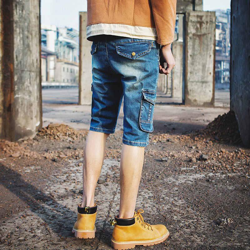 2020 lato nowe wygodne szorty dżinsy mężczyźni myte proste nogi średnio wysoka talia niebieskie krótkie spodnie cargo denimowe fartuchy mężczyźni Plus rozmiar 40
