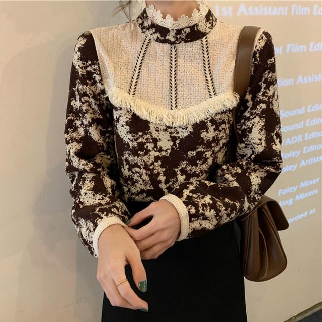 Ezgaga Floral Printed Women Shirts French Style Lace Patchwork Tassel Vintage Tender Long Sleeve Elegant Blouse Ladies Blusas 2