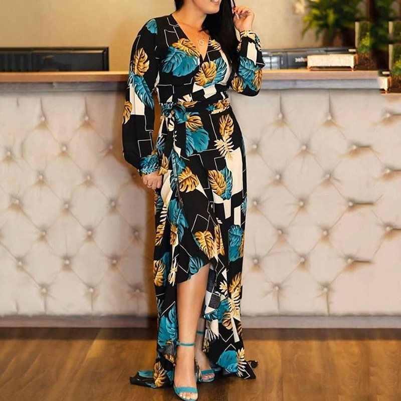 Платье в пол с v-образным вырезом и высокой талией, асимметричное платье с длинным рукавом XXL, Осеннее Черное Осеннее женское повседневное длинное платье макси, халат 2019