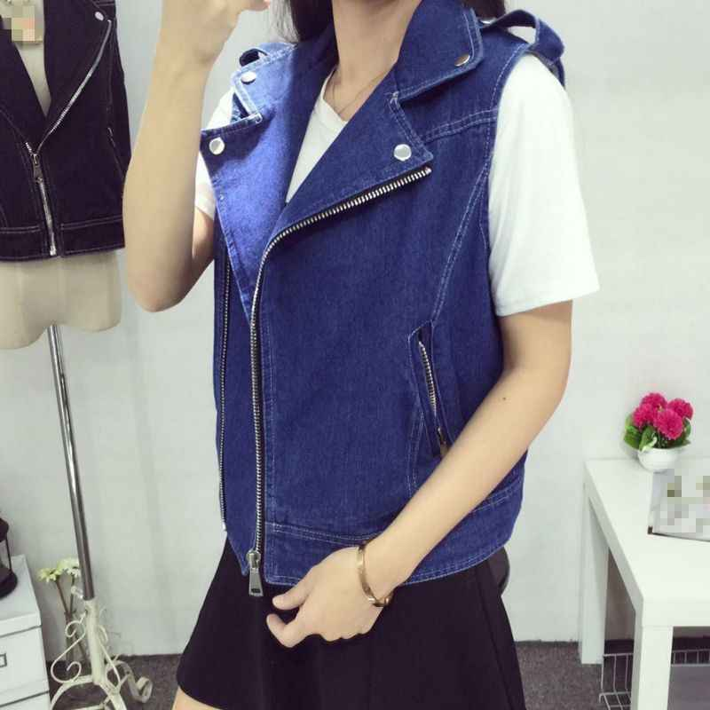 Novas mulheres denim coletes preto branco azul sem mangas turn down collar casaco jean zíper curto outwear vintage 6xl 7xl 8xl mais tamanho