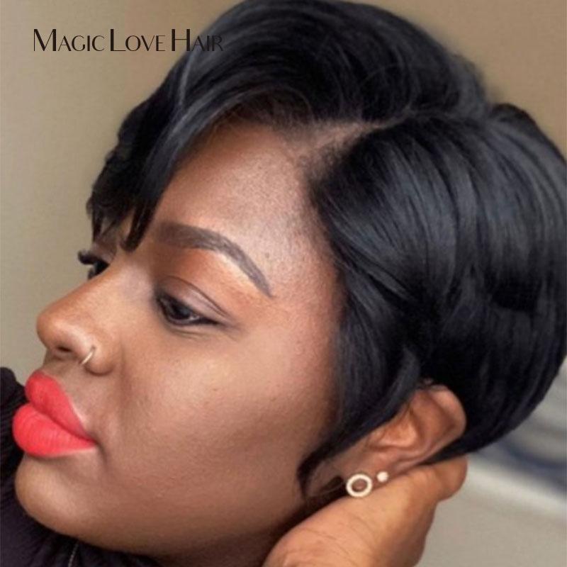 Magic Love Pixie Cut Lace Wigs Short Bob Wigs 130 Density Lace Front Human Hair Wigs Brazilian Remy Hair For Women