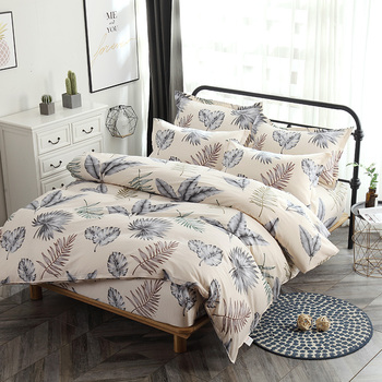 Rural style Egyptian cotton fashion small red flower plant bed fitted printed home bedding set adult duvet cover soft pillowcase