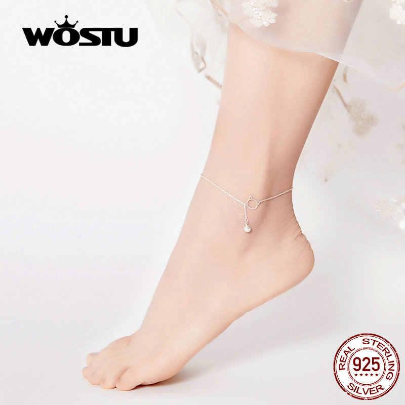 WOSTU 925 стерлингового серебра милый ножной браслет с котом бисером Бижутерия для ног для женщин браслет для босых ног ножные браслеты с цепочкой подарки CQT003