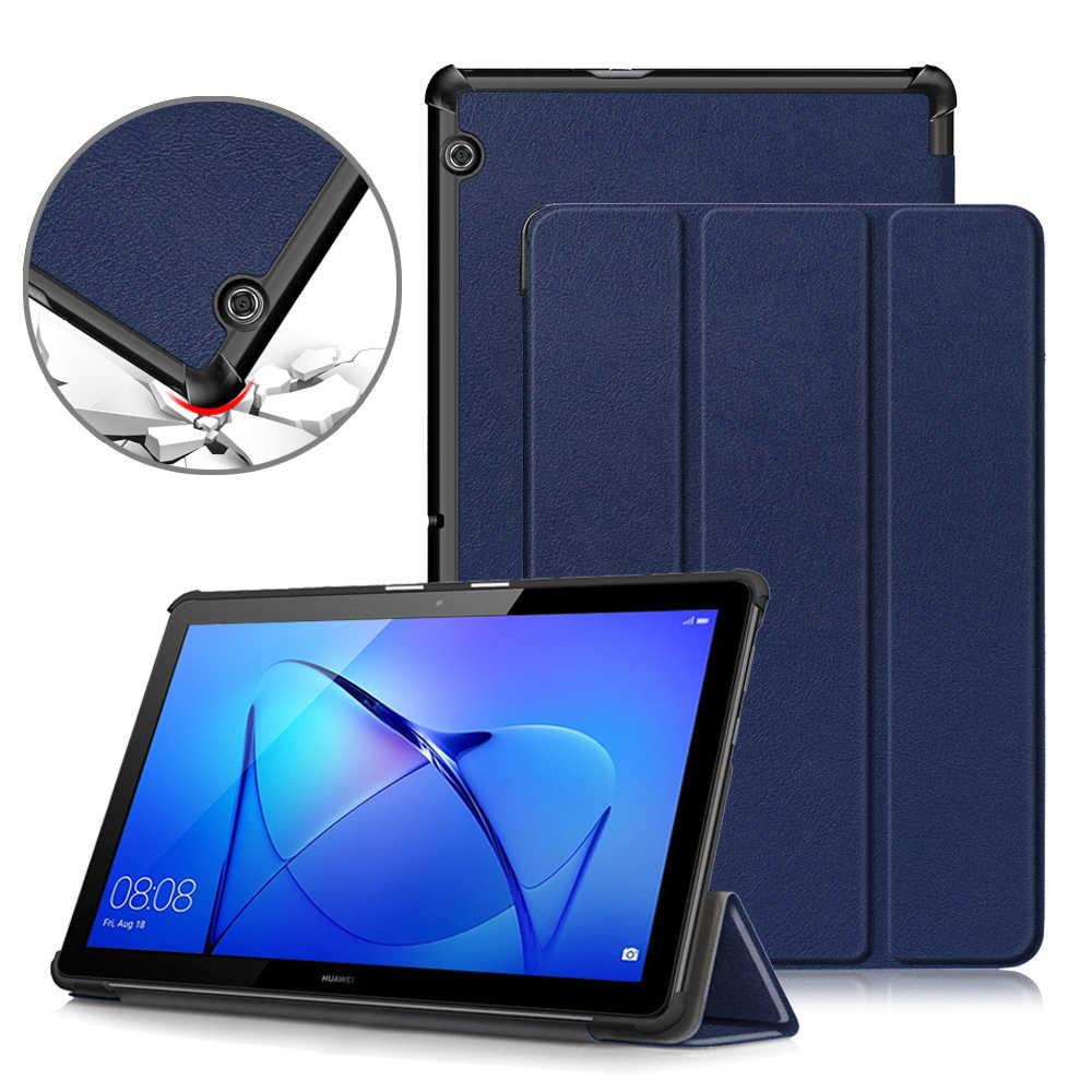 حافظة لهاتف Huawei MediaPad T5 10 ، بو الجلود حامل قابل للطي غطاء لهواوي MediaPad T5 10.1 AGS2-W09/L09/L03/W19 جراب كمبيوتر لوحي
