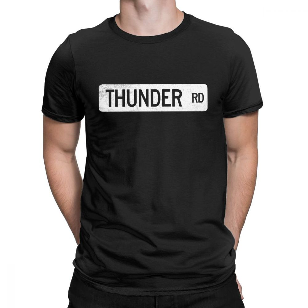 Thunder Road Street Sign Graphic T Shirt For Men Springsteen Short Sleeve Clothes Classic Tee Shirt Cotton Crew Neck T-Shirt