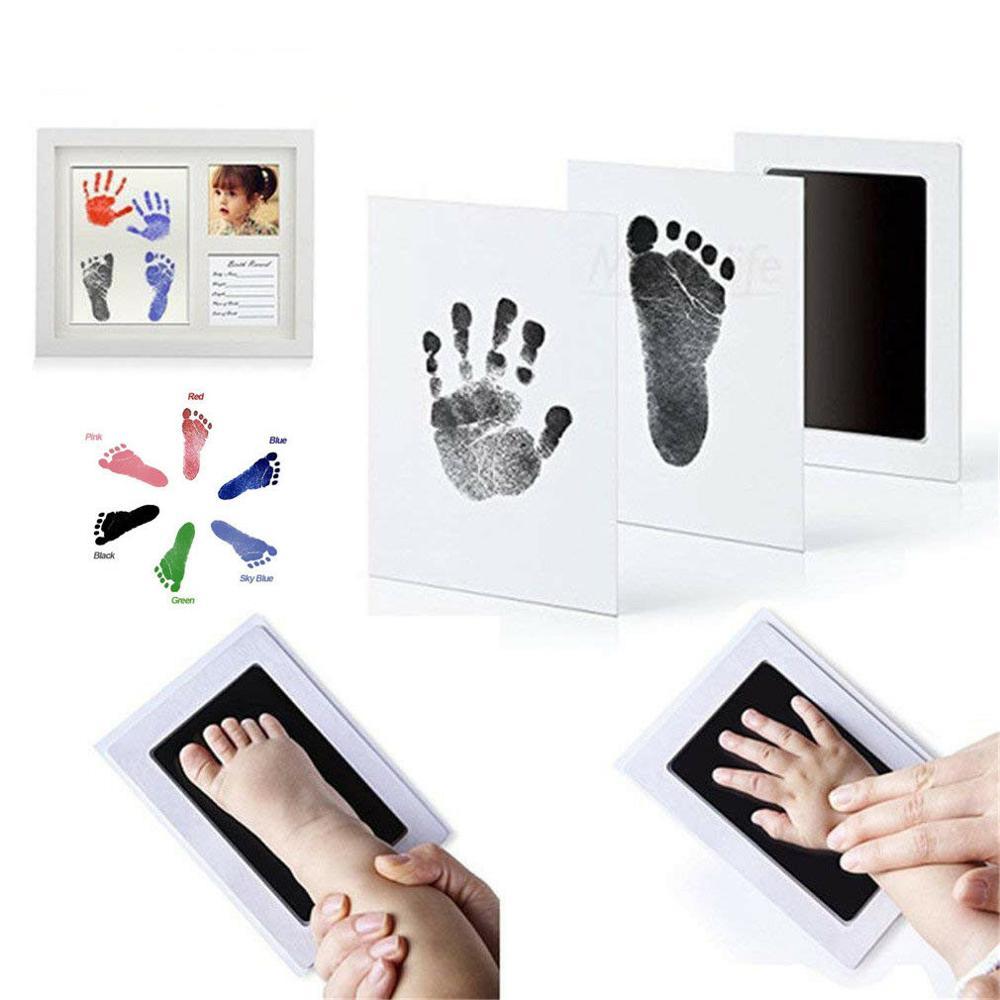 Baby Footprint Handprint Set Stamp Hand Foot Inkpad Imprints In Color