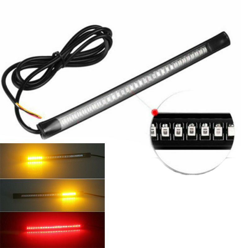 Universal DC 12V 48-LEDs SMD Strip Motorcycle Car Tail Turn Signal Brake Stop Lamp Flexible Soft Rubber Light Strip Accessories