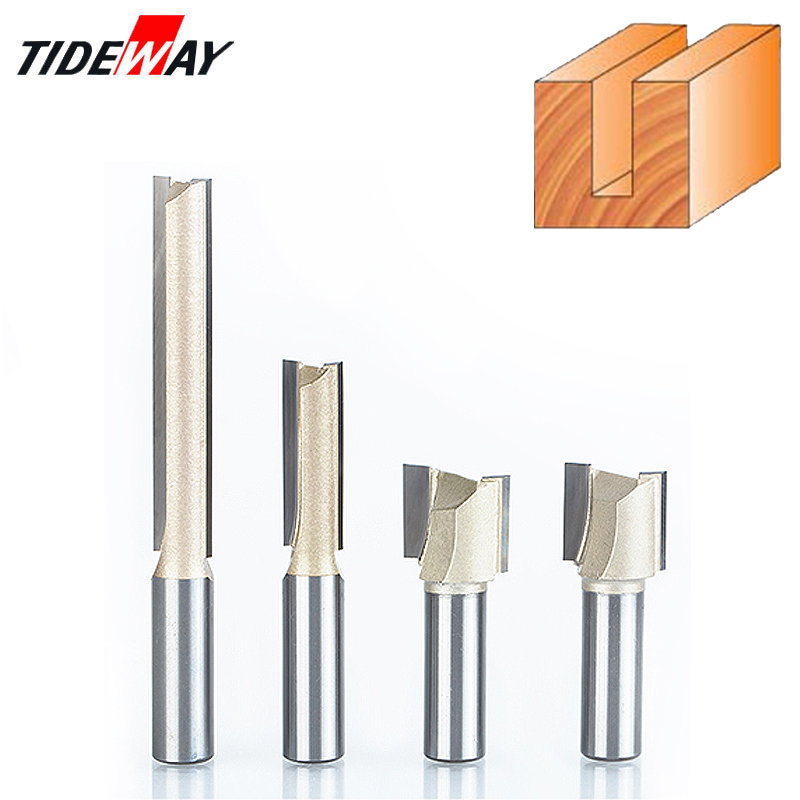 """7Pcs Straight Router Bits Double Flute Woodworking Milling Cutter 1//4/"""" Shank"""