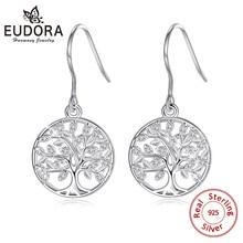 Eudora,, 925 пробы, серебряные серьги-капли «Древо жизни» с AAA цирконием, женские модные серьги, ювелирное изделие, подарок для девочки, CYE092