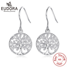 Eudora 100% 925 Sterling Silver Tree of life Drop Earring with AAA Zircon Women Fashion earrings Jewelry Gift For girl CYE092