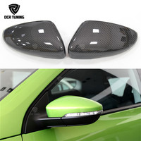Carbon Fiber Rear View Mirror Cover Caps For Volkswagen CC Passat For VW Scirocco Beetles 2010+ Replace style without lane assit