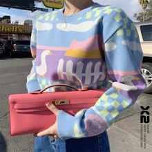 Женский вязаный свитер осень новинка корейский Свободный пуловер