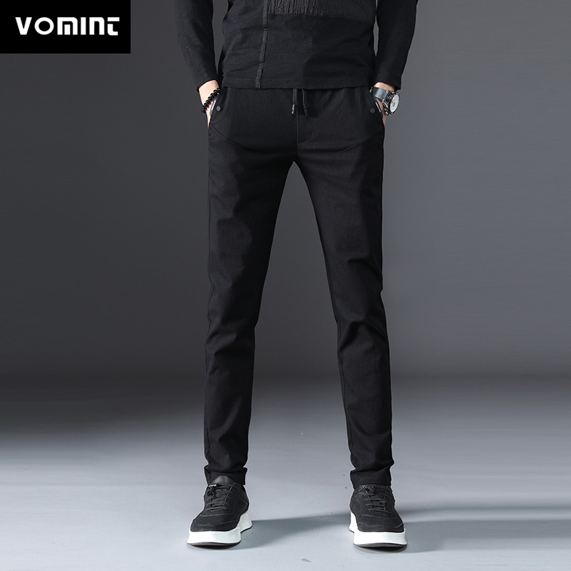 Vomint 2020 Mens Pants New Solid Color Pants Casual Business Fit Body Stretch Trousers Men's Pant Cotton Trousers