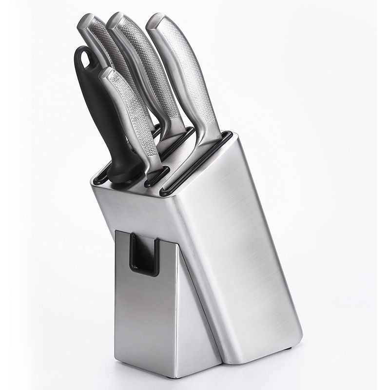 Stainless Steel Kitchen Knife Holder With Scissor 6 Holes Home Knife Storage Rack Accessories Multifunction Hollow Knife Stand