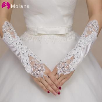 MOLANS biały lub kości słoniowej ślubne krótkie rękawiczki bez palców rękawiczki ślubne dla kobiet kości słoniowej koronkowe rękawiczki akcesoria ślubne tanie i dobre opinie Poliester Nadgarstek WOMEN Dla dorosłych Gładkie barwione Jeden rozmiar LA3820 Apartament dla nowożeńców rękawice