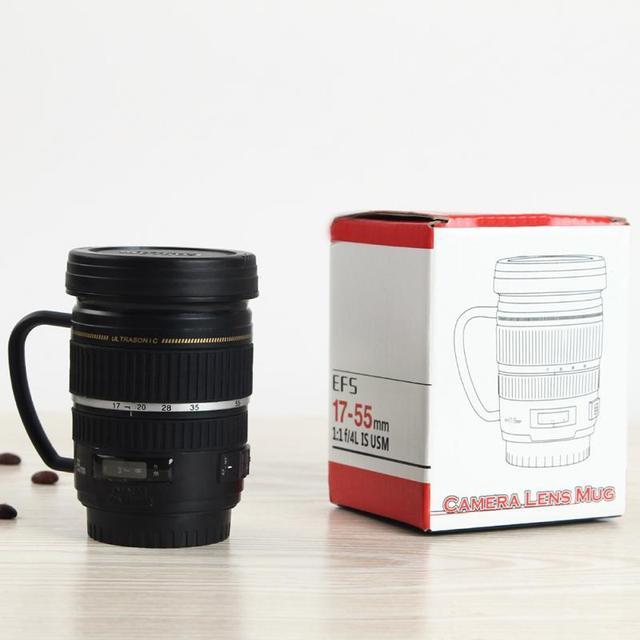 Creative Drinkware Cute Cup Stainless Steel Camera Lens Shaped Mugs Coffee Mugs Tea Cup Travel Vacuum Flasks With Lid Gift 5