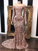 Long Dresses Prom Sexy Mermaid Boat Neck Off The Shoulder Long Sleeve Rose Gold African Black Girl Sequin Prom Dress 2020