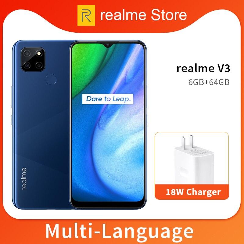 "realme V3 6GB 64GB/128GB Mobile Phone 6.5"""" 720*1600HD+ 5000mAh Battery 13MP Triple Camera Dimensity 720 Octa Core"