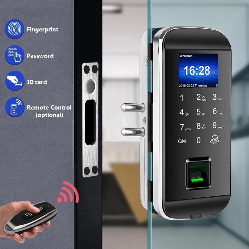 New Biometric Fingerprint Glass Door Lock Office Electric Smart Card Door Lock Fingerprint Door Lock With Time Attendance XM-100