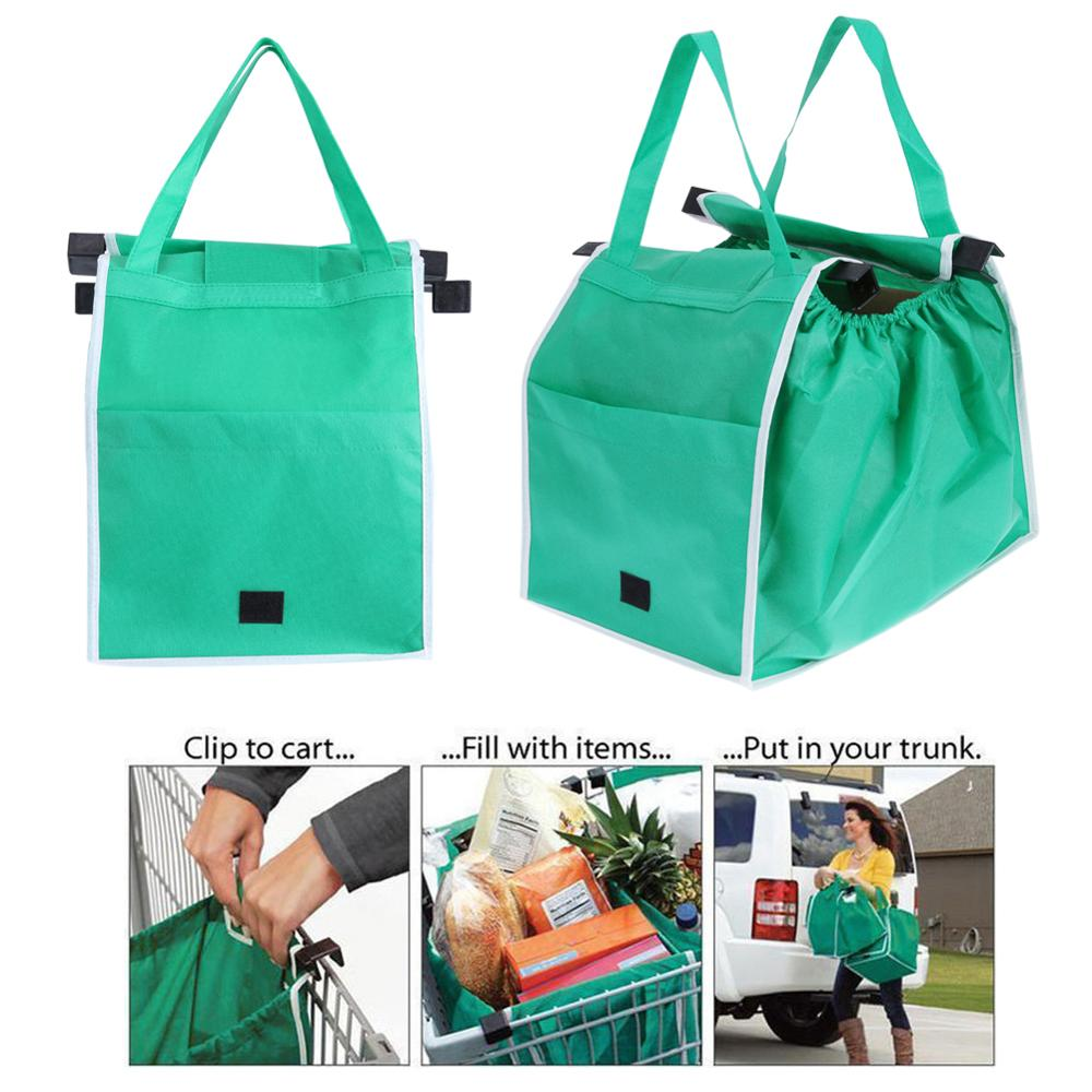 1pc Women Foldable Large Shopping Bags Trolley Clip-To-Cart Grocery Shopping Totes Portable Reusable Eco-friendly Bags Handbags
