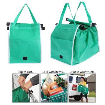 1pc kobiety składane duże torby na zakupy wózek Clip-To-Cart zakupy spożywcze skrzynki przenośne wielokrotnego użytku ekologiczne torby torebki tanie i dobre opinie Non-Woven Fabric Solid Ciąg Shopping Bags Na co dzień Foldable Portable 25 X 37 X 32 cm Eco-friendly Green cloth Reusable