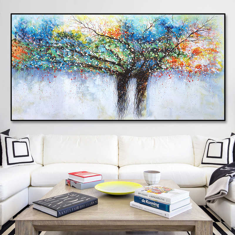 SELFLESSLY Abstract Art Rich Tree Canvas Painting Wall Pictures For Living Room Modern Decorative Posters Print Art Pictures