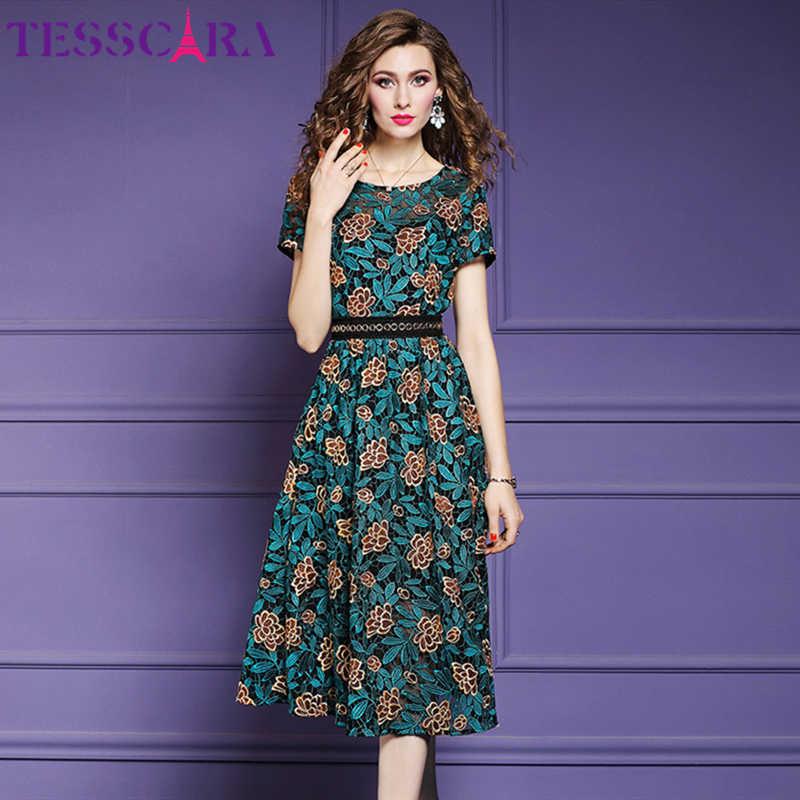 Tesscara女性夏のエレガントなレースのドレスの女性オフィスパーティーローブファム花デザイナー高品質ファッションaラインvestidos