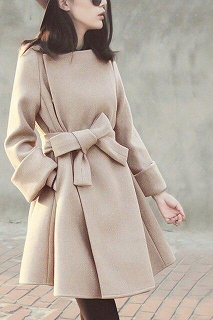 Купить 2020 осенне зимнее модное женское шерстяное пальто с бантом картинки цена