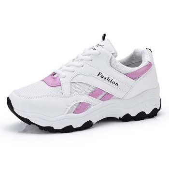 Fashion mesh breathable sneakers lace up walking shoes women's light casual shoes