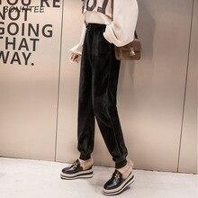 Женские зимние штаны 2020, теплые утепленные шаровары с высокой талией для школьников, Свободные плиссированные дамские брюки в Корейском стиле