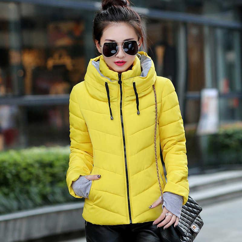 2020 Winter Jas Vrouwen Plus Size Womens Parka Thicken Bovenkleding Effen Hooded Jassen Korte Vrouwelijke Slanke Katoen Gewatteerde Basic Tops