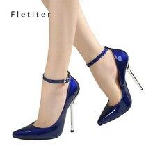 Fletiter נעלי נשים 12 cm עקבים גבוהים משאבות עור מחודדת הבוהן נשים משאבות גבירותיי נעלי העקב דק נעלי גדול גודל 43 44