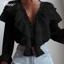 2020 Celmia Women Long Sleeve Blouses Solid Ruffles Tunic Tops Casual Loose Deep V-Neck Shirts Elegant Work Party Blusas Mujer