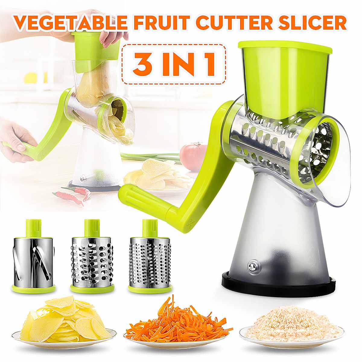 Roller Vegetable Slicer Cutter Potato Chopper Carrot Grater Detachable 3 Stainless Steel Blade Non-Slip Base Meat Grinder