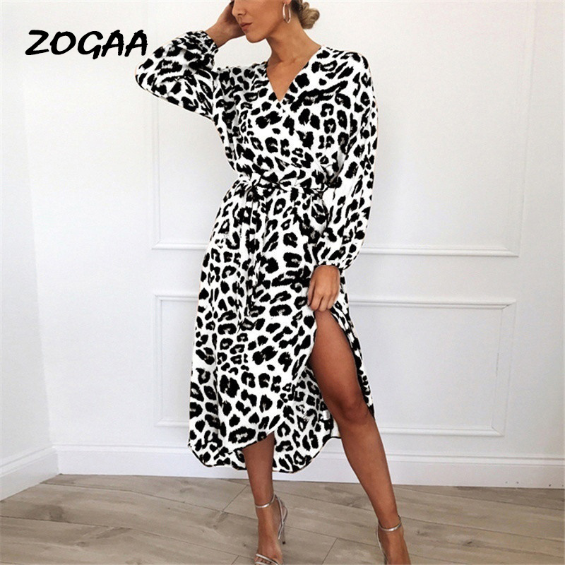 ZOGAA Leopard Party Dress 2019 Women Chiffon Long Evening Sexy Sleeve V-neck Vestidos de fiesta