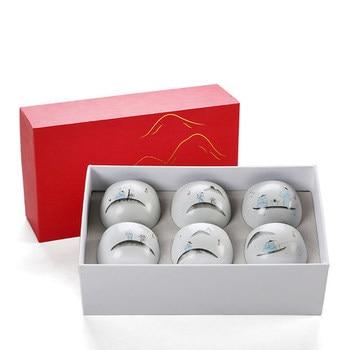 Ceramic Ru kiln Tea Cup Japanese Style Home Kung Fu Black Tea Jin Jun Mei Teacup 6 Loaded Gift Box Teaware Free Shipping