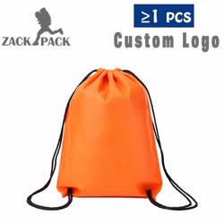 Сумки на шнуровке на заказ логотип Строка сумка рекламные спортивные печатных рюкзак тянуть веревку женский холст тренажерный зал