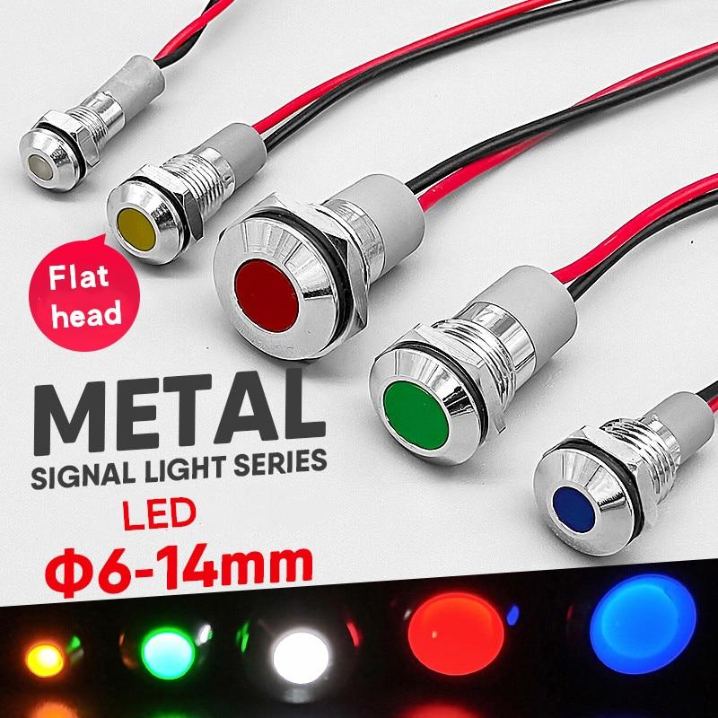 1pc 6mm 8mm 10mm 12mm 14mm Waterproof IP67 Metal LED Warning Indicator Light Signal Lamp Pilot Wire 3V 5V 12V 24V 110V 220V