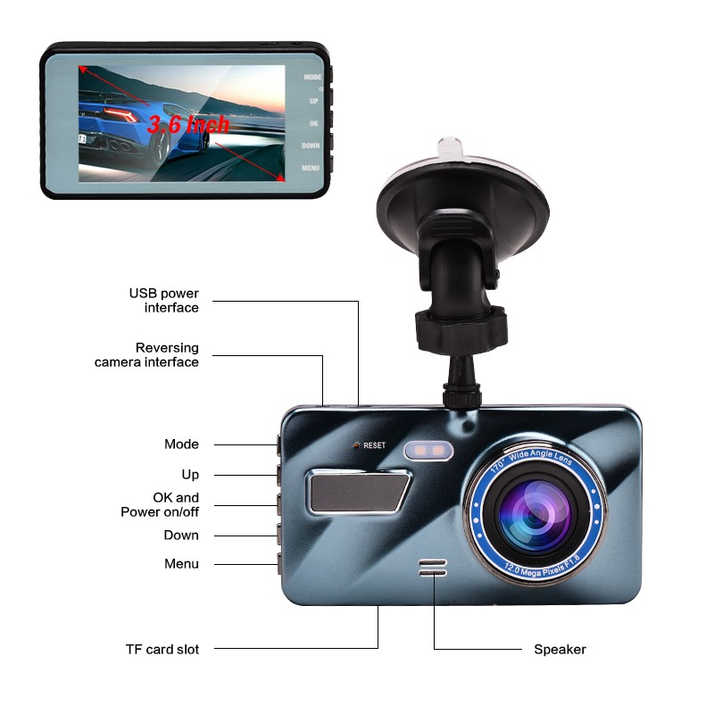 "J16 Car DVR Dash Camera Rear View Dual Camera Video 1080P Full HD 3.6"" Cycle Recording Night Vision G-sensor Wide Angle Dashcam 4"