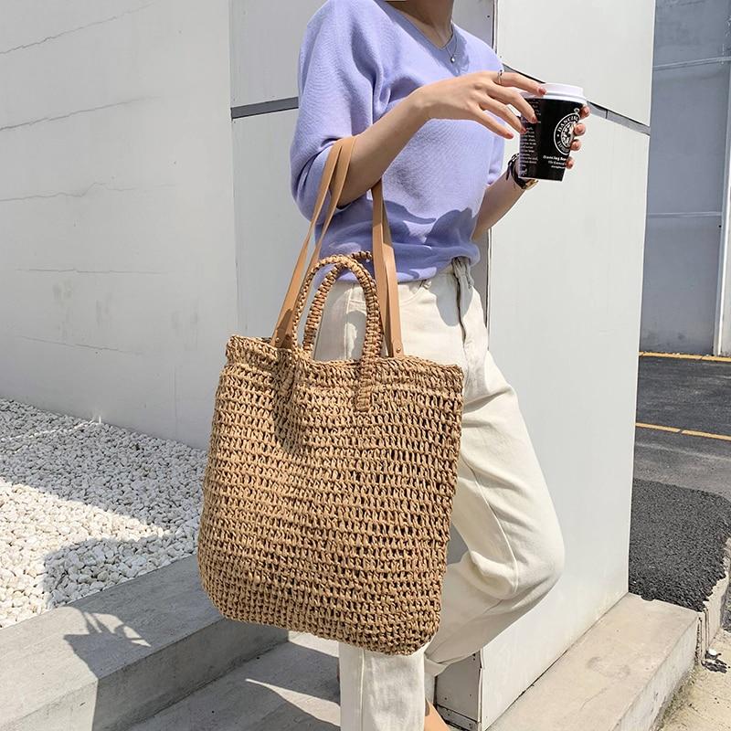 Повседневная Соломенная шляпа для женщин сумки через плечо плетеная лоза сумки из ротанга, женская летняя пляжная сумка, большая сумка-тоут...