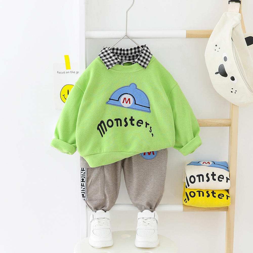 Toddler Boy Clothes Set Shirt + Elastic Pants Baby Boys Clothing Spring Autumn Children Outwear Normal Size
