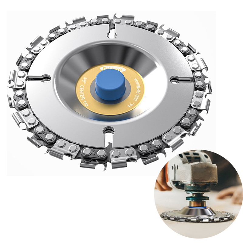 Urijk 1 Pcs 4 Inch Multifunctional Carving Disc 14 Teeth Woodcarving Grinder Chain Disc For 100/115 Angle 3/8