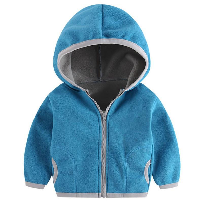 Outerwear Baby-Girl Hoodie Fleece Zipper Autumn Kids Boy Casual Solid Sweatshirt Outfits