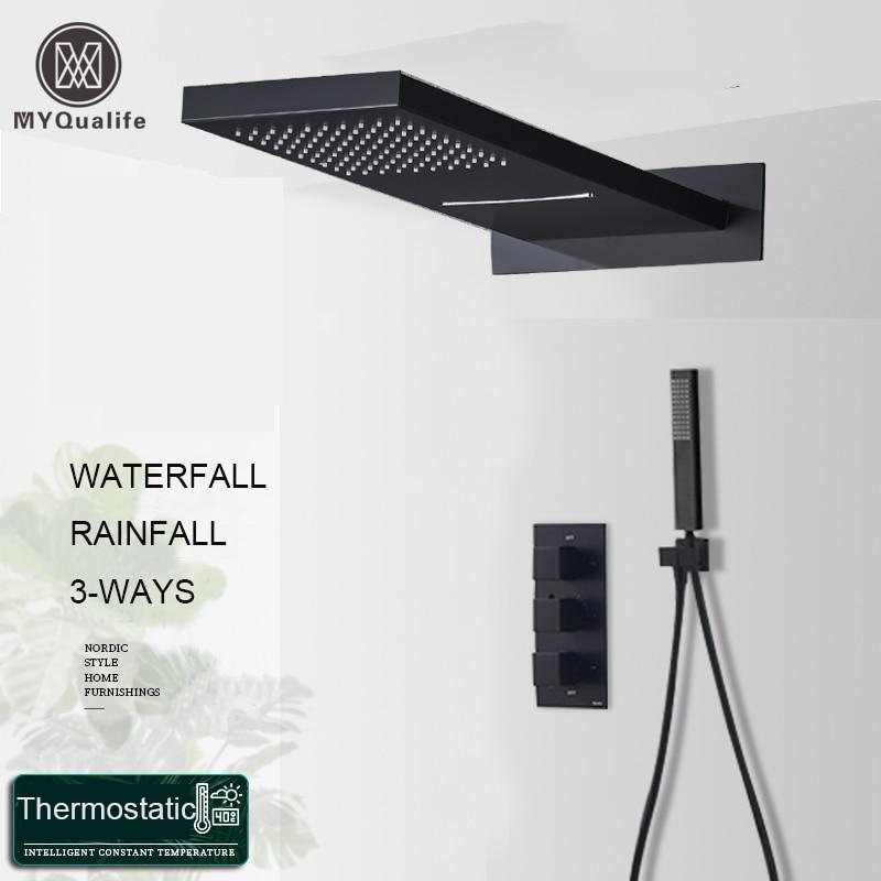 Hbeb41f104d2143deb42792e48f9e772ej Matte Black Rain Waterfall Shower Set Thermostatic Mixer Bath Shower Mixer Tap 3 ways Shower Faucet Wall Mounted